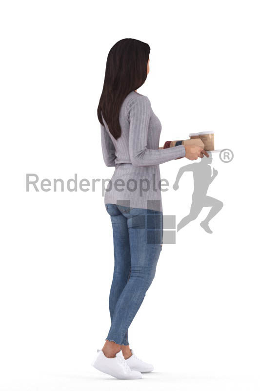 Posed 3D People model for visualization – black woman walking with a serving tablet