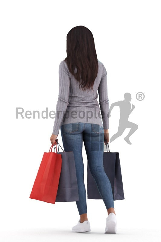 3D People model for 3ds Max and Cinema 4D – black woman, with shopping bags, walking
