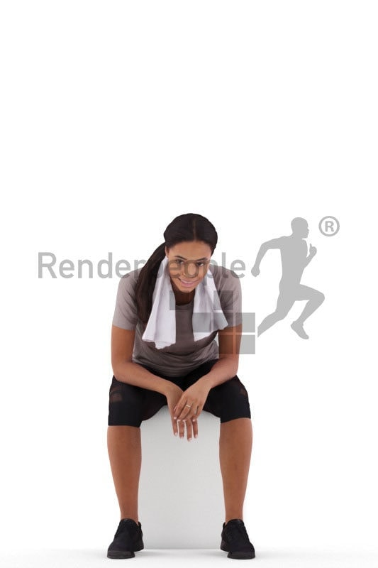 3D People model for 3ds Max and Cinema 4D – black woman, sitting with a towel, sports wear