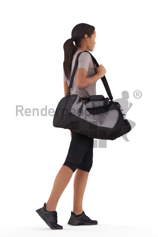 Posed 3D People model for visualization – black woman with sports outfit and sportsbag