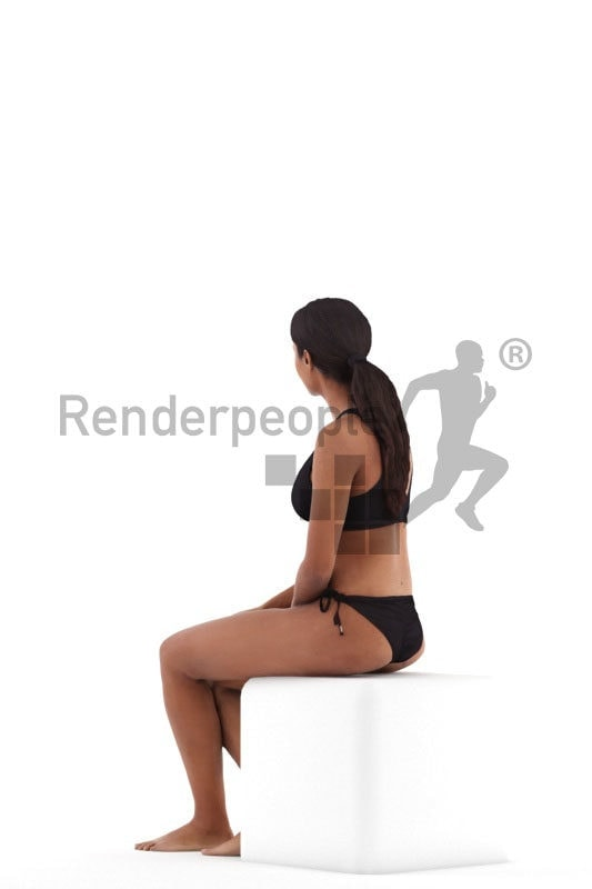 Photorealistic 3D People model by Renderpeople – black woman sitting in swimm suits