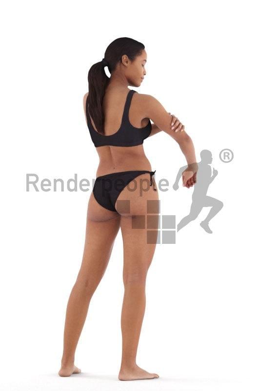 Realistic 3D People model by Renderpeople, black woman in bikini, putting on sunscreen