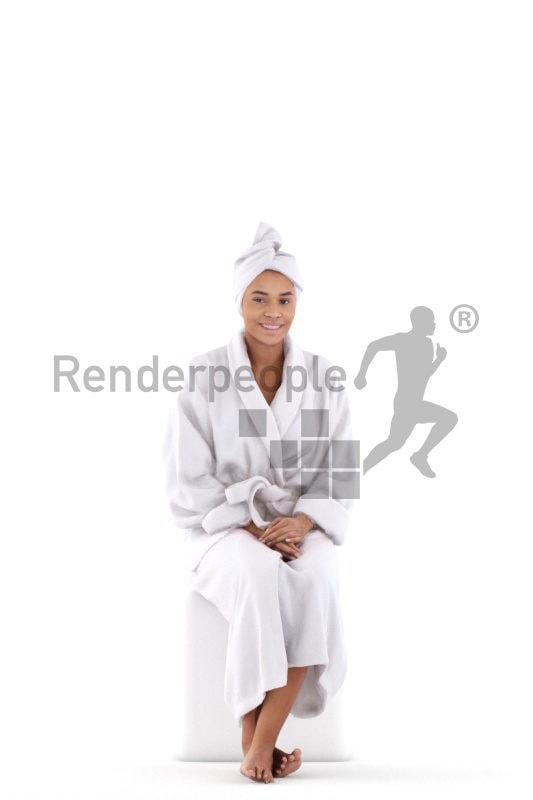 Posed 3D People model for renderings – black woman in a bathrobe, sitting