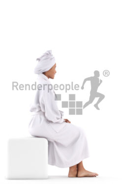 Posed 3D People model for renderings – black woman in a bathrobe, sitting