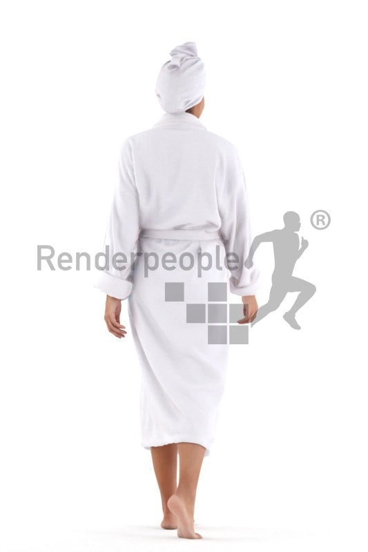 3D People model for 3ds Max and Maya – black woman, spa, with bathrobe, walking