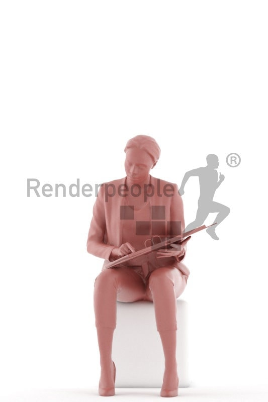 Scanned 3D People model for visualization – black woman, business, sitting and interacting