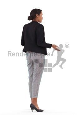 3D People model for 3ds Max and Blender – black woman in business suits, doing a presentation