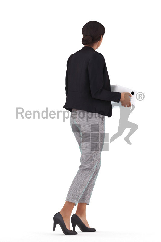 3D People model for 3ds Max and Blender – black woman in business suits, walking