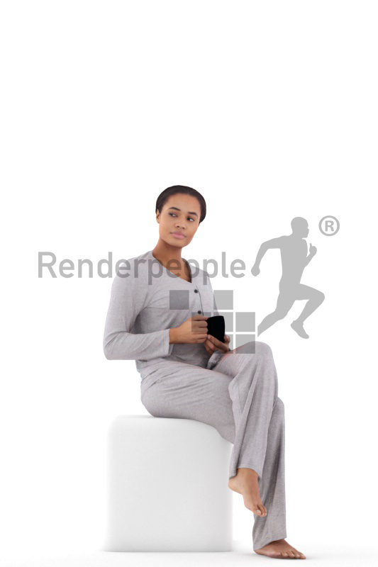 Scanned human 3D model by Renderpeople – black woman in pyjamas, sitting with a mug