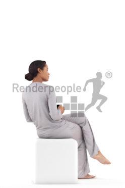 Scanned human 3D model by Renderpeople – black woman in pyjamas, sitting with a mug