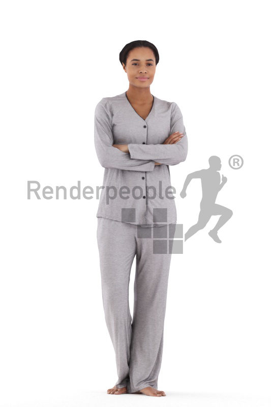 3D People model for 3ds Max and Blender – black woman in sleep wear