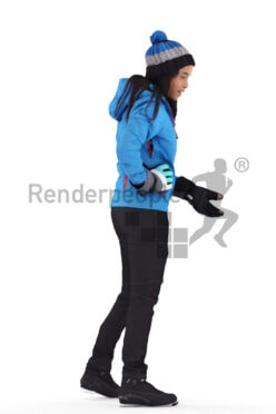 Scanned 3D People model for visualization – black woman in skiing outfit, wearing a hat and gloves, standing and communicating