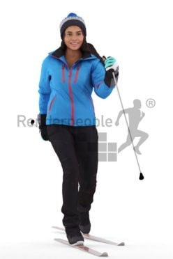 3d people sports, 3d white woman, with skiing equipment/gear