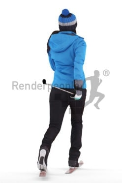 3d people casual, 3d white woman, with skiing equipment/gear