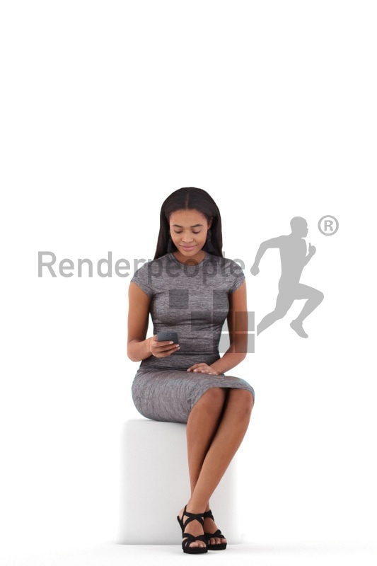 Photorealistic 3D People model by Renderpeople – black woman, sitting an texting, event