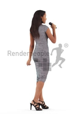 Scanned 3D People model for visualization – black woman, event, with microphone