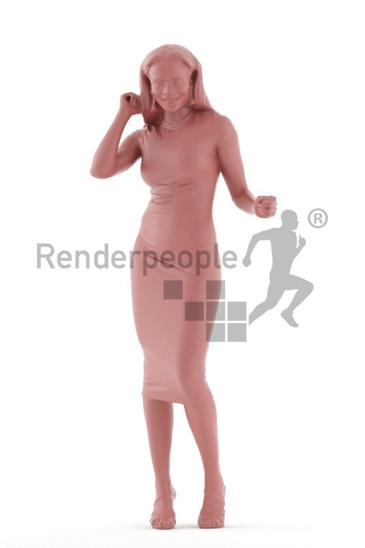 Realistic 3D People model by Renderpeople, black woman, event, dancing