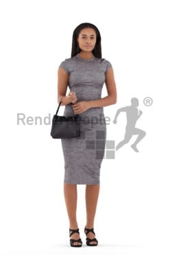 Realistic 3D People model by Renderpeople, black woman, event
