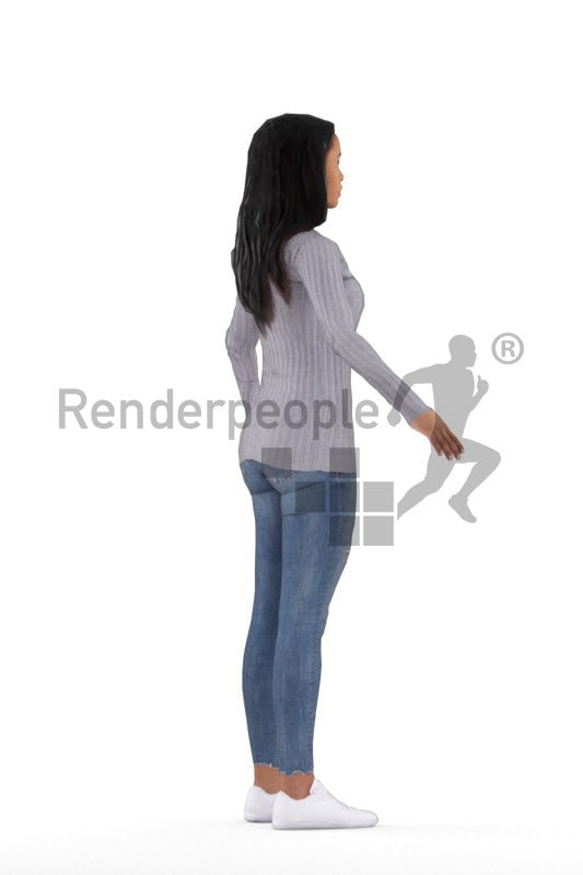 Rigged 3D People model for Maya and 3ds Max – black woman, casual