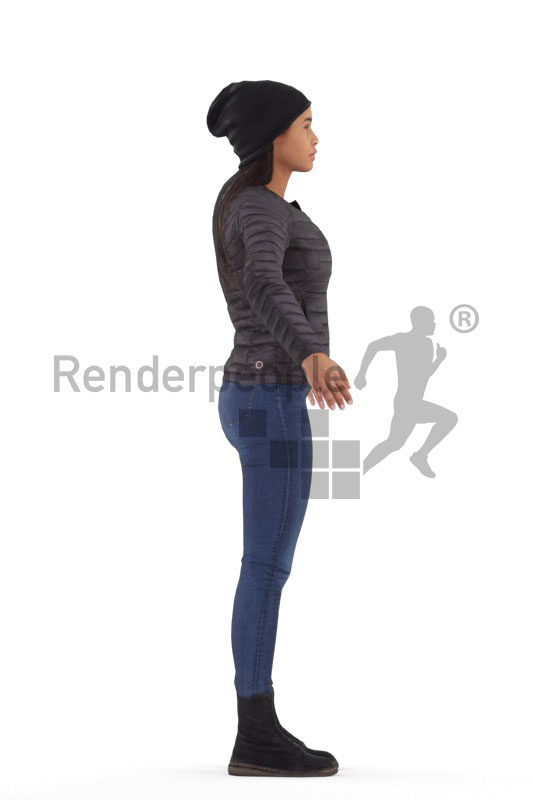 Rigged 3D People model for Maya and 3ds Max – black woman outdoor