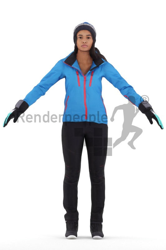 Rigged 3D People model for Maya and 3ds Max – hispanic woman/ latina, in skioutfit/outdoor