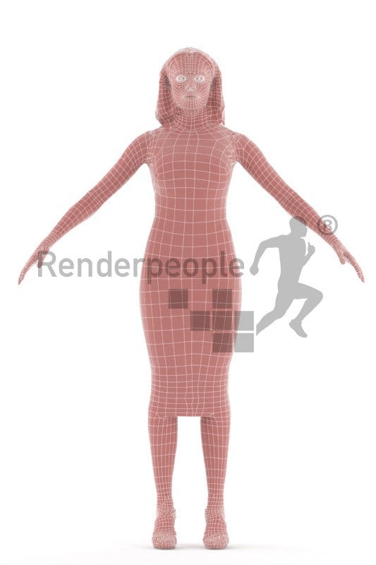 Rigged human 3D model by Renderpeople – black woman in event look