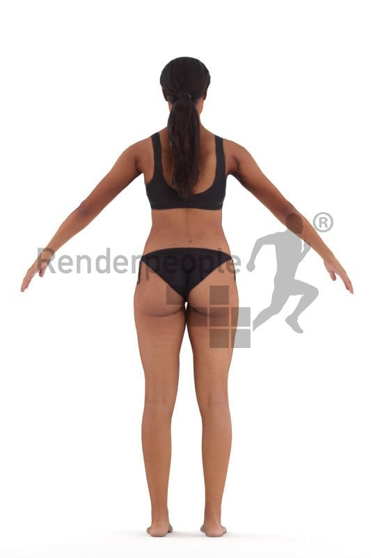 Rigged 3D People model for Maya and 3ds Max – black woman in bikini