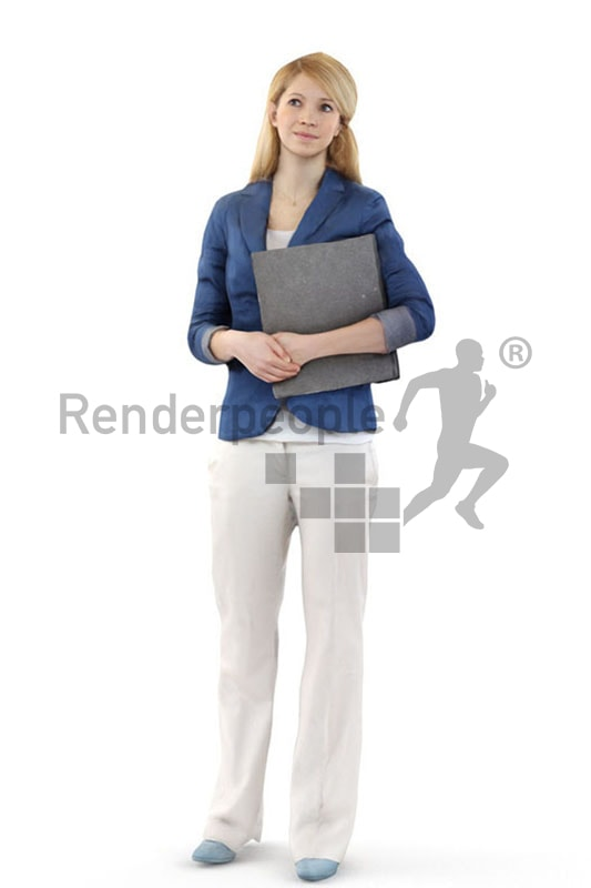 3d people business, white 3d woman with a folder