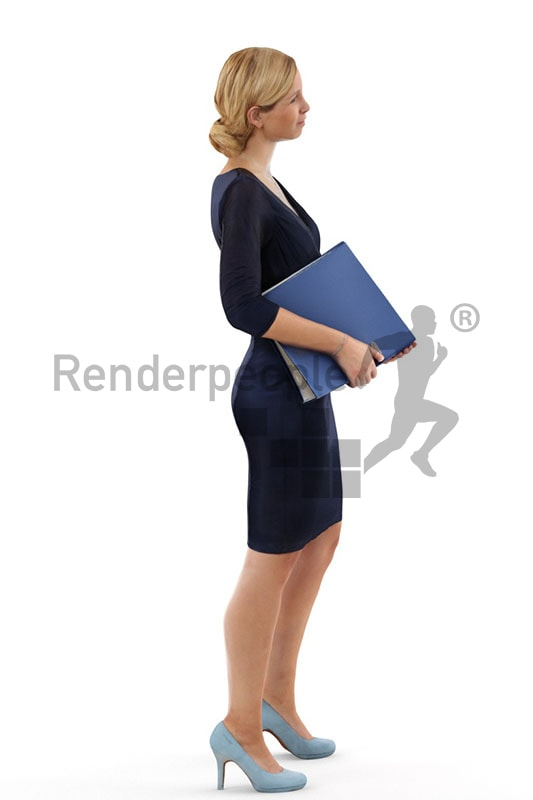 3d people business, white 3d woman standing and carrying a folder