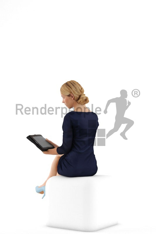 3d people business, white 3d woman sitting using a tablet
