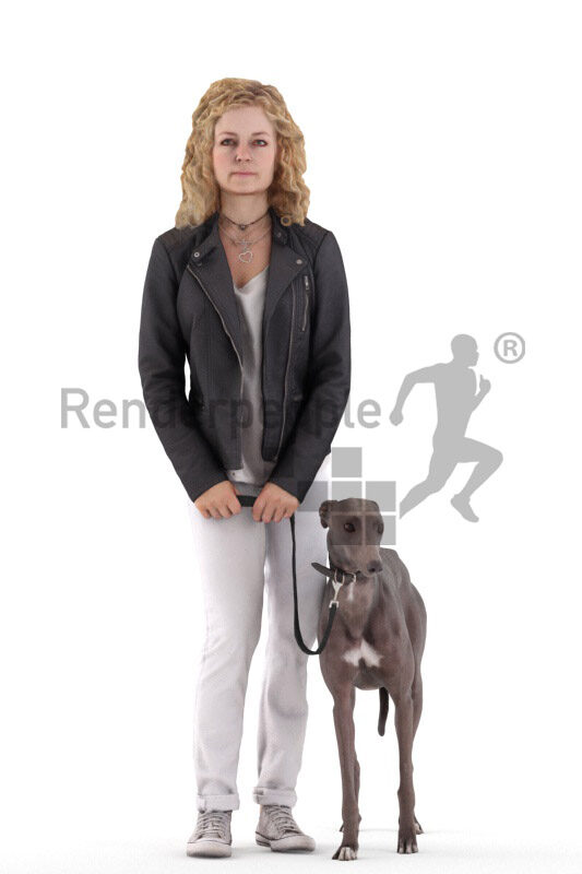 Scanned human 3D model by Renderpeople – european woman in casual leather jacket, standing with her dog