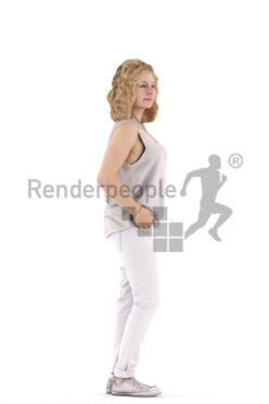 Photorealistic 3D People model by Renderpeople – european woman in daily spring outfit, standing