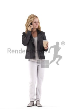 3D People model for 3ds Max and Cinema 4D – european woman in casual leather jacket, holding a cup of coffee and calling