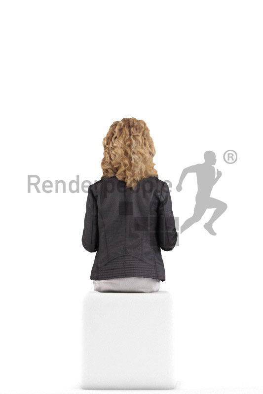 Posed 3D People model by Renderpeople – white woman in casual leather jacket, sitting and talking