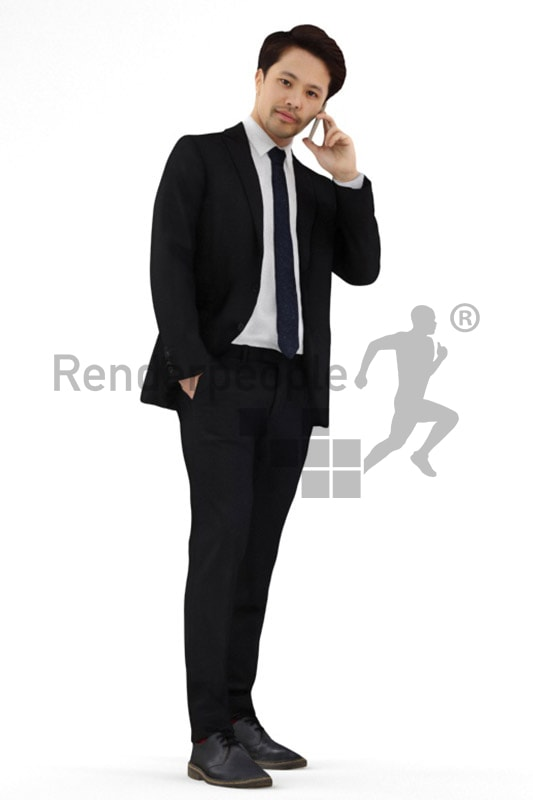3d people business, asian 3d man in suit talking on the phone