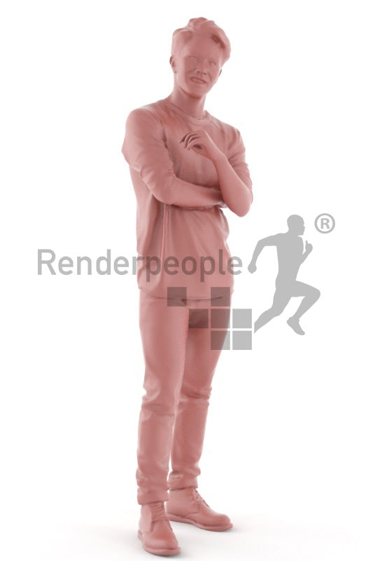 3d people casual, asian 3d man standing