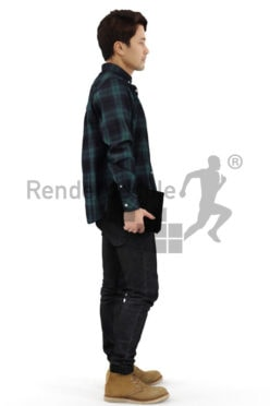 3d people casual, asian 3d man standing carrying a bag