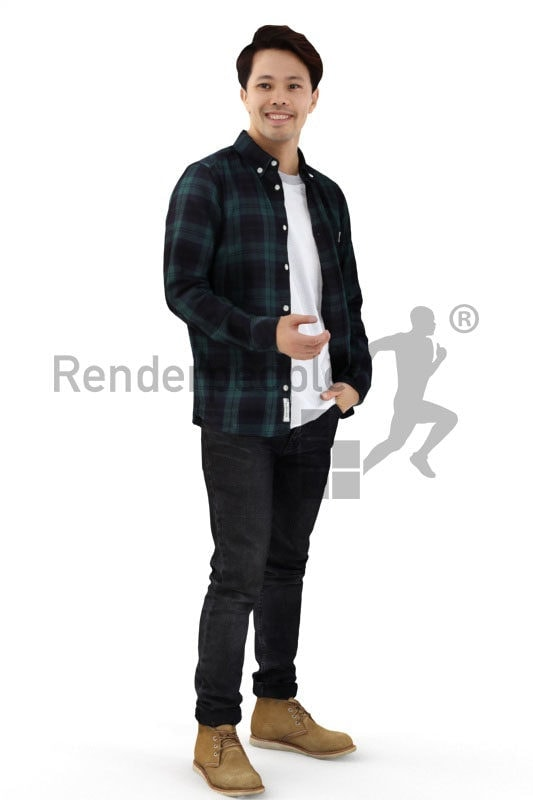3d people casual, asian 3d man standing and smiling