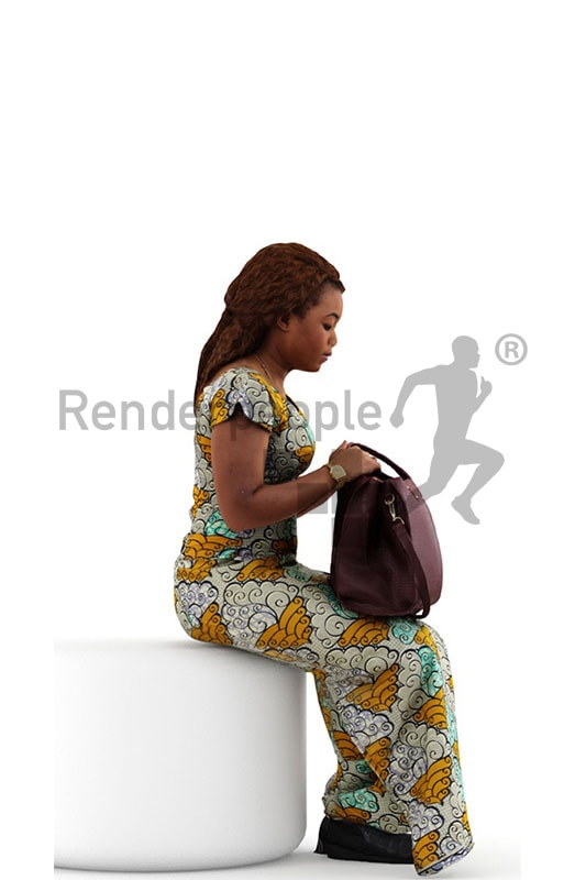3d people shopping, black 3d woman sitting checking her back