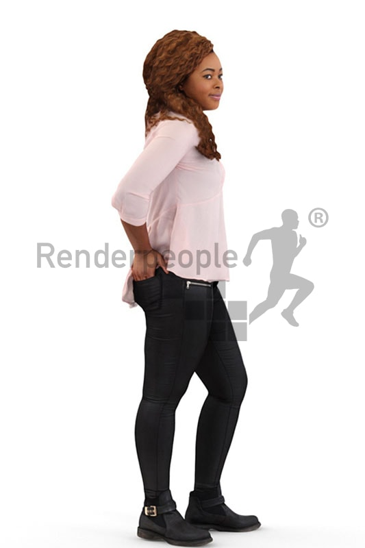 3d people casual, black 3d woman standing