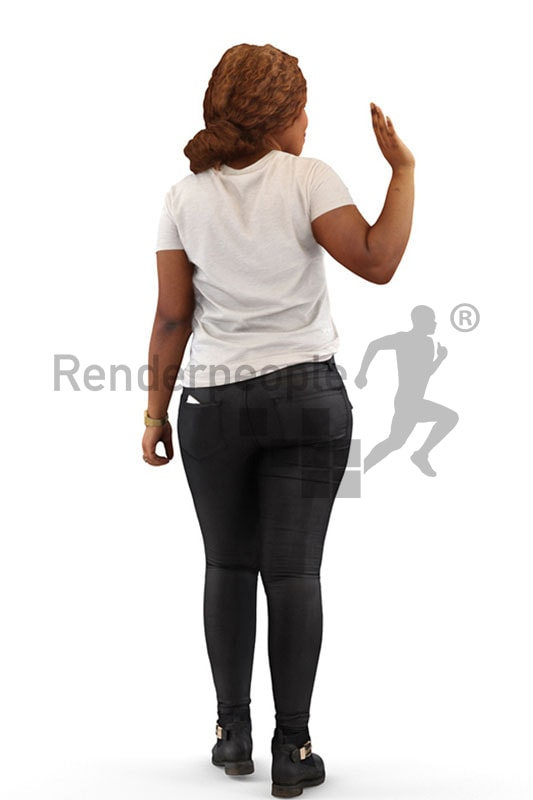 3d people casual, black 3d woman waving
