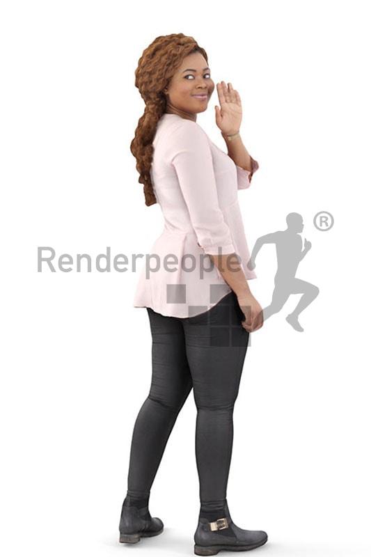 3d people casual, black 3d woman waving