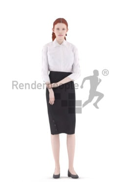 Animated 3D People model for visualization – european woman with red hair in business look, standing