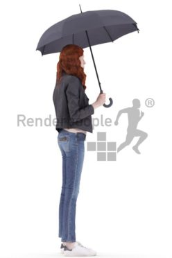 3d people casual, white 3d woman standing and holding umbrella