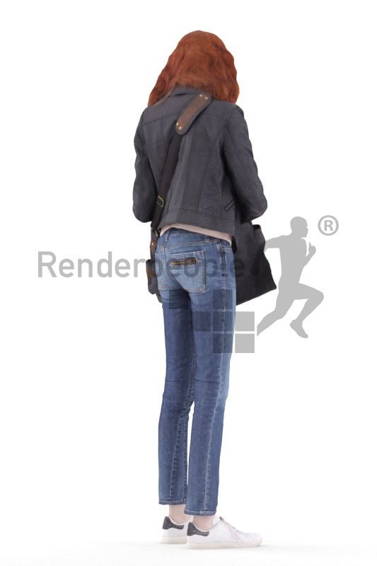3d people casual, white 3d woman standing and looking into bag