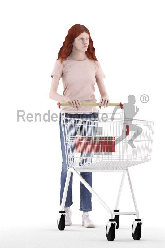 Scanned 3D People model for visualization – european female in casual daily look, walking with trolly