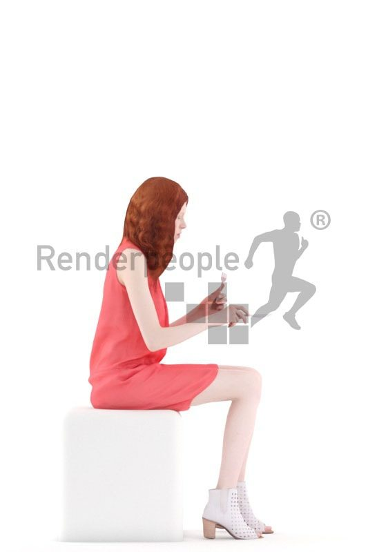 3d people event, white 3d woman sitting and eating