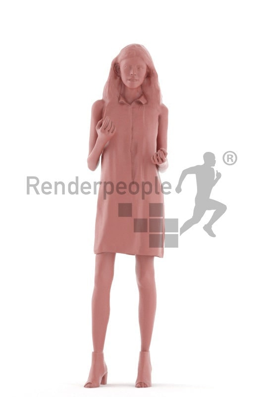 3d people casual, white 3d woman standing and talking