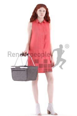 3d people event, white 3d woman standing and shopping
