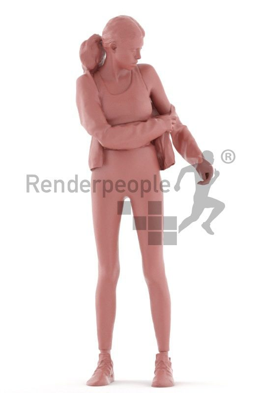 3d people sports, white 3d woman standing and putting on clothes